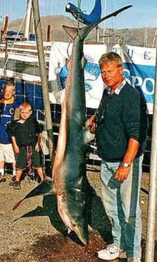 Rob Gray and a 57.4kg blue shark - Canterbury Sport Fishing Club.