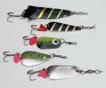 Metal trout spoons.
