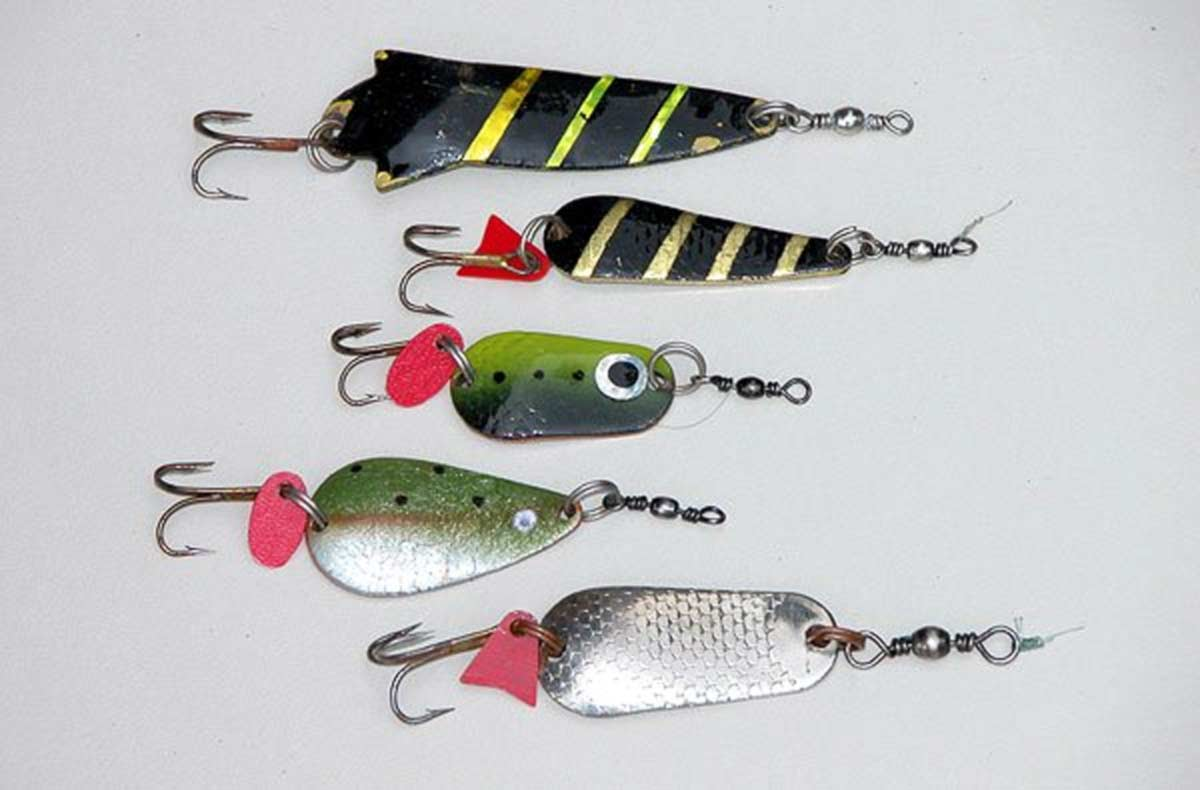 Painted brass trout spoons.