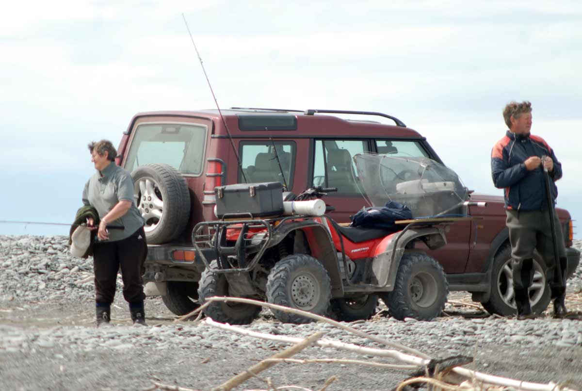 The true mouth of the Rakaia River often exits into the sea half way down the lagoon. The loose shingle can only be tackled successfully by the most capable 4x4s. The wider the tyers the better. Inexperienced vehicle owners unaware of the danger get buried to their axles there all the time. Fishing Van or 4×4 Truck.