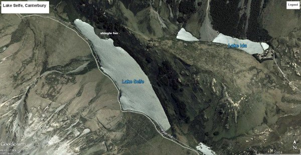 Lake Selfe on the Harper Road. Map GoogleEarth and DigitalGlobe.