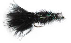 Booby Trout Fishing Fly. Black Booby with a body of Crystal Chenille. A glow-in-the-dark version is also popular as a night fly. You can add fluorescent paint to the eyes or Aurora Strip to the body.