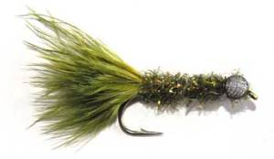 Booby Trout Fishing Fly. Olive Green Booby Fly with a body of Crystal Chenille. A more typical body is made by wrapping a hackle palmer style over the body and securing with oval tinsel as in a Woolly Buggar.