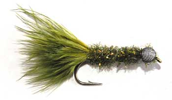 Olive Green Booby Fly with a body of Crystal Chenille. A more typical body is made by wrapping a hackle palmer style over the body and securing with oval tinsel as in a Woolly Buggar.