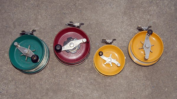 Some of the author's Alvey side cast reels. From left: 650C, 650GRC, 600C5, and 55C5.