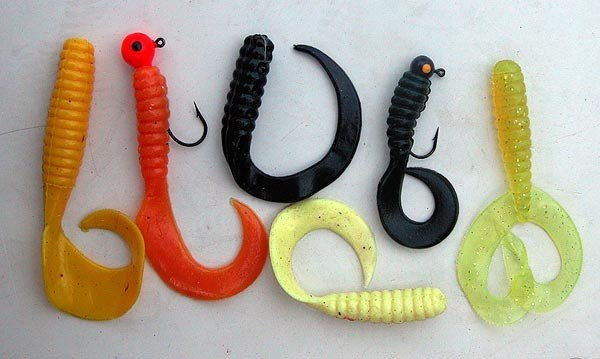 Typical of the early Mr Twister soft plastic grubs sold in New Zealand back in the 1990s.