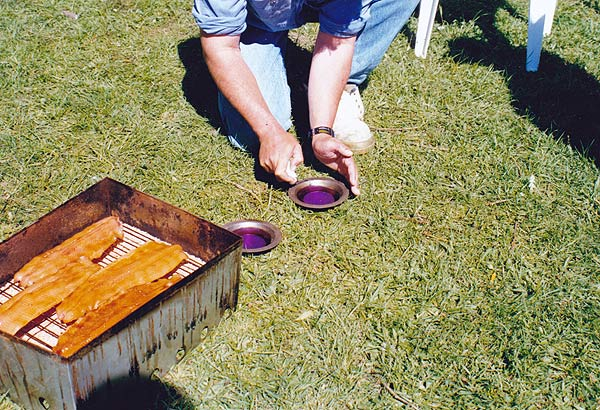 Metal dishes burning methylated spirit are used to cook the fish and burn the sawdust or fine wood chips. Smoking fish.