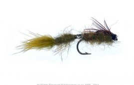 Wiggle Nymph Damsel tied in two sections to simulate movement. Rabbit fur tail and legs also add movement.