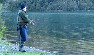 Lake Selfe trout fly fishing. Spin fishing is permitted on Lake Selfe and is a leisurely way to while away the hours. Vegetation to the water's edge can make the fly rod difficult to use in some places. There is nothing worse than having your back cast swallowed by dense matagouri bush!