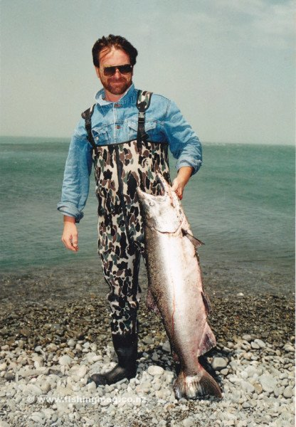 This big 34 pound salmon was taken in the surf at the mouth of the Rakaia River at Waitangi Weekend 1996.