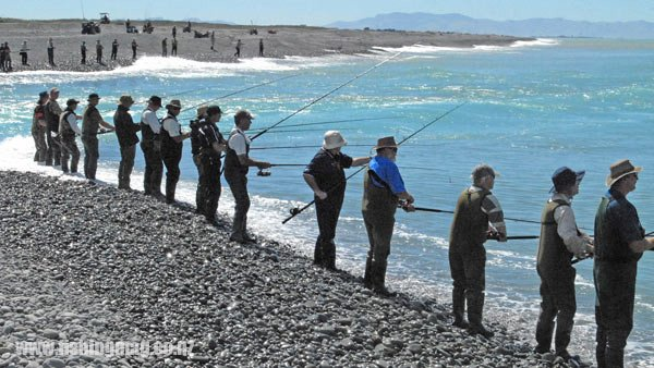 Rakaia River mouth salmon/surf fishing.