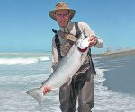 Rangitata River (Rangi) 17 lb salmon 7 January 2008. This photograph courtesy of Malcolm Bell - The Complete Angler.