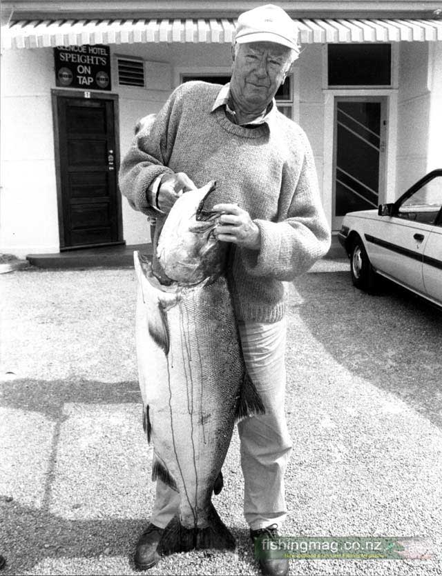 "Here is a picture of a huge 41 lb salmon caught 24 years ago by Alan Pratt in the Waitaki River. At that time the Waitaki was home to the heaviest of the returning salmon. Alan was fishing from a boat, in early January 1995, just below the main road bridge when he hooked this 18.6 kg (41 pound) monster salmon. It measured 1.09 measures in length. With the help of fishing mates Vic Edgar of Glenavy and Les Davison of Oamaru, Alan finally netted his prize catch in a backwater 20 minutes later. ""I hooked it about 100 yards from the boat in some pretty quick water and it took-off! I told Vic to pull the anchor and go after it. After some skillful navigating we got it into a backwater about half a mile downstream,"" said Alan."