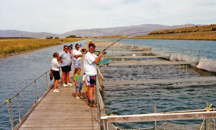 Fishing at the Benmore Salmon Farm near Twizel.
