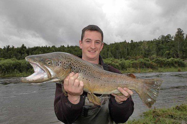 Lake Brunner trout fishing map: A magnificient brown trout taken from Lake Brunner by Dan Sweeney during a fishing trip with local guide Brent Beadle.