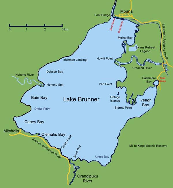 Lake Brunner trout fishing map.