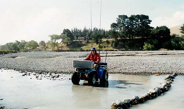 The Hurunui River mouth can be difficult to get to at times especially when the open from the lagoon to the see is at the far northern end. A quad bike makes the trip from the Blythe River much easier than walking.