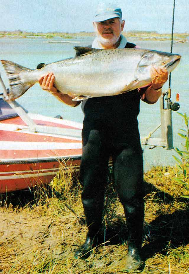 The late Keith Reinke with a massive looking 33 lb salmon caught in the Waitaki river just a few days before the annual fishing contest. Strange as it sounds today, had Keith caught it during the competition it wouldn't have won. The heaviest fish that year was caught by M. McVie and weighed 16.78kg (over 36 lbs).