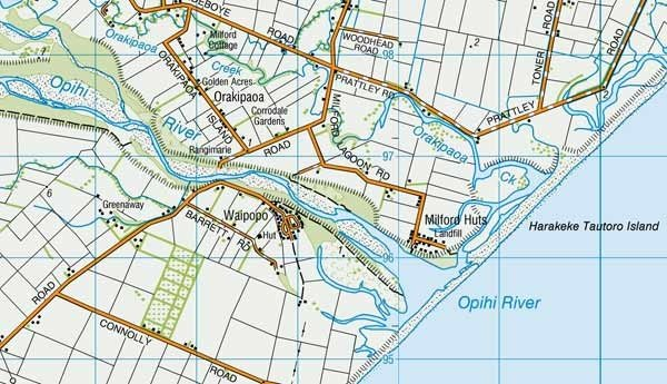 Opihi River Mouth. The blue lines are 1km apart. Scale 1:50,000. Map sourced from LINZ. Crown Copyright Reserved
