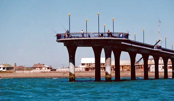 The New Brighton Pier viewed from a boat.