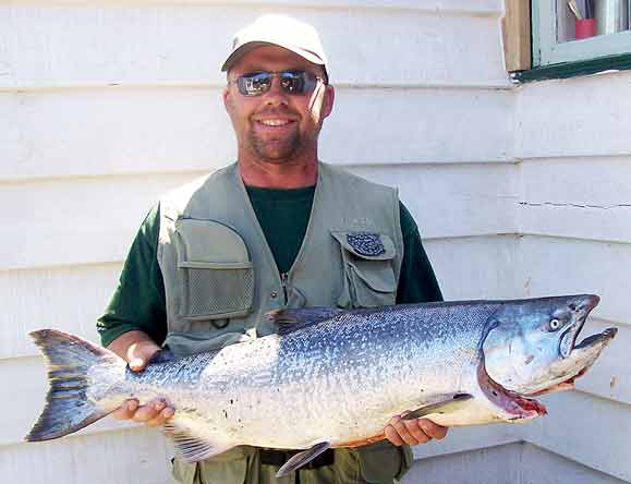 Jason Lloyd with a real beauty from the Opihi River.