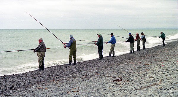 Rangitata River surf salmon fishing.