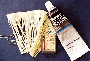 RTV silicon rubber sealant and Aurora skirt strip for making silicon trout flies.
