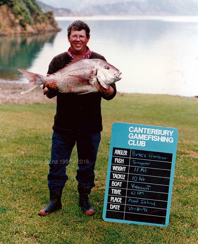 Bruce Gardner with a big 11kg snapper he caught near Maud Island, Pelorus Sound, while staying at Waitata Bay.