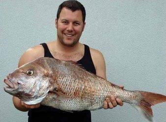 Lloyd looks pleased with this big 'Ol Man snapper taken off Raglan, North Island, West Coast of New Zealand.