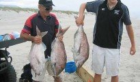 Pictured: John and Eli holding 13, 15, and 17 lb. snapper.