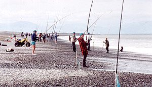 Combined fishing clubs surfcasting event held on the beach at South Rakaia Huts.
