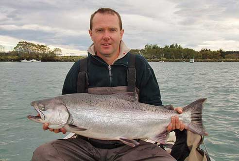 Chinook salmon caught at Macintoshes, Waimakariri River, at the end of March 2007. It weighed 16 lbs. This fish was in excellent condition. Photograph courtesy of Greg Martin.