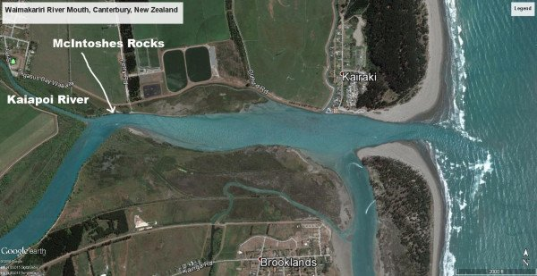 Lower Waimakariri River showing McIntoshes Rocks about 2kms from the mouth. If you want to fish for kahawai at the mouth go as far down the beach as possible to the white water before casting into the river. Waimakariri River trout and salmon.