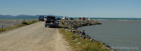 """This is the """"true"""" Wairau River mouth 8kms to the south of the Diversion."""