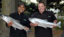 A good size salmon each for these anglers fishing the Waimakariri River 2012.