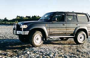 Some four-wheel-drive vehicles, like this powerful Toyota Landcruiser, are more capable off-road than others. But it is important to remember that every 4WD has its limitations and will become stuck if you push it too hard!