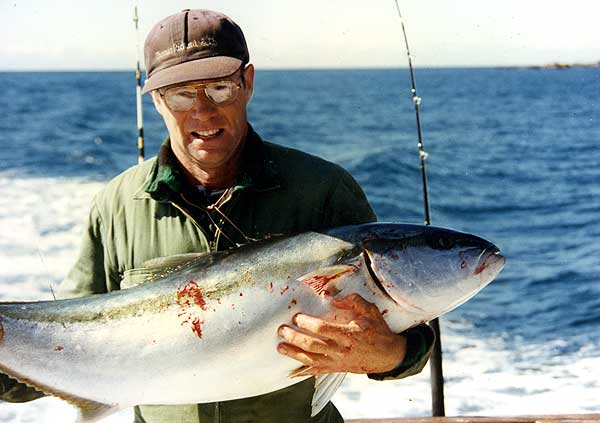 The author Denis Moresby with yellowtail kingfish that was not weighed so that my mates could not catch a bigger one.