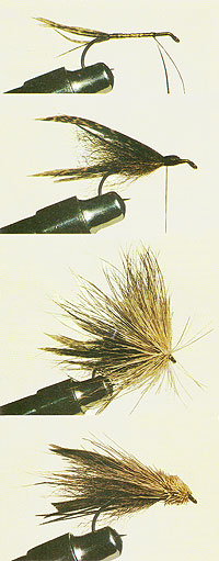 From the top, Stage 1: Tie in turkey feather tail and bind two thirds of the way along the hook with gold tinsel. Stage 2: Tie calf tail hair above the hook shank to form the streamer. Over this tie the wing of turkey feather. Stage 3: Bind on the head of deer hair. Stage 4: Finally pinch the hair tightly between thumb and forefinger before trimming the head and collar to suit.