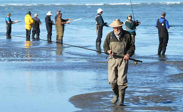 As the tide goes out at the Waimakariri Rivermouth watch the old experienced anglers as they change their spots every so often, watching the movement of the water and never changing position just because someone down the line caught a fish!