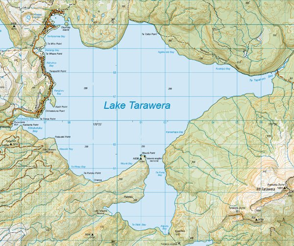 Lake Tarawera Map: 1:50,000. Each grid square represents 1 km. Map Sourced from NZTopo50-BE37, BE38, BF37, BF38. Crown Copyright Reserved. Lake Tarawera trout fly fishing.