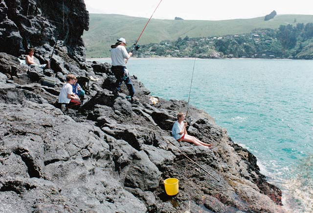 Fishing at Black Rock, around from Sumner on Banks Peninsula.
