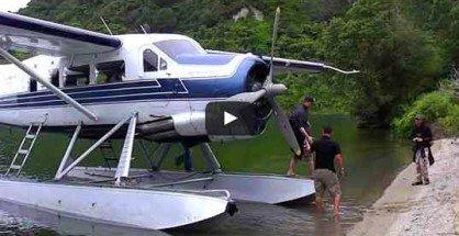 Lake Tarawera Trout Fly Fishing: Float plane.
