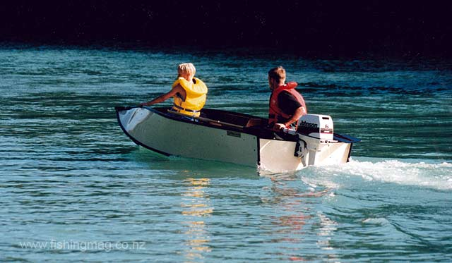 The Porta Bote glides effortlessly across the water with our 6 hp Johnson outboard.