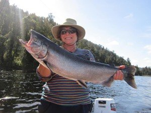 Marg Delore caught this big salmon in Lake Mapourika. That sure looks like a big fish!