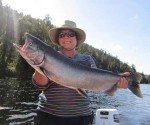 Marg Delore caught this big salmon in Lake Mapourika.