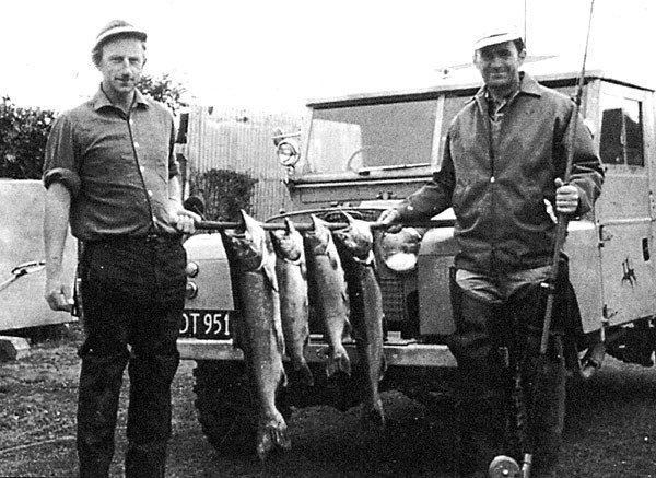 50 years of salmon fishing. These four salmon were taken in just 90 minutes hand-lining with a zed spinner - March 1973.