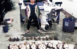 A super catch of crays, moki, and trumpeter caught fishing at Motunau on the North Canterbury Coast.