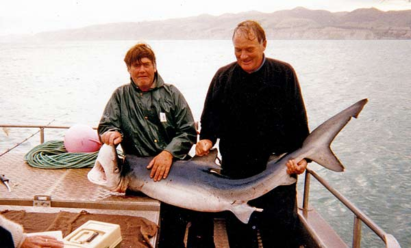 Dorado Fishing Charters out of Motunau. The catch is a good size blue shark.