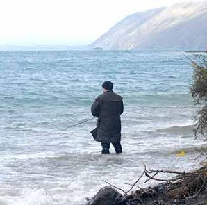 With no beach at the Picket Fence you had to stand in the water to fish!