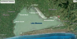 Lake Ellesmere map showing Harts Creek, Irwell River, LII, Selwyn River, and the Halswell River. Map courtesy of GoogleEarth, Astrium, and Digital Globe.